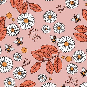 Daisy Blossom and Flower garden bees summer design botanical boho nursery nature love orange coral pink