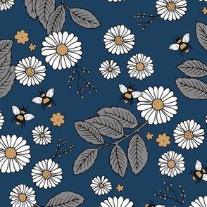 Daisy Blossom and Flower garden bees summer design botanical boho nursery nature love navy gray