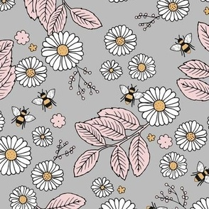 Daisy Blossom and Flower garden bees summer design botanical boho nursery nature love neutral gray pink