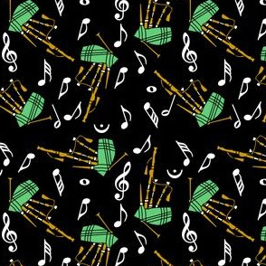 Bagpipes White Music Note Pattern