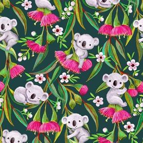 Teeny Tiny Grey Koalas with Tea Tree Blossoms and Eucalyptus Flowers on green medium