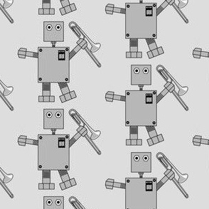Trombone Robot Gray Background