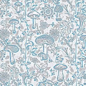 mushroom garden teal blue