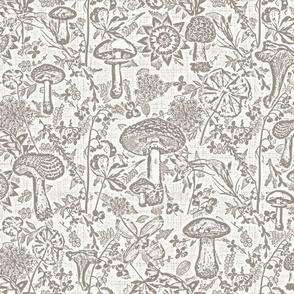 mushroom garden sepia