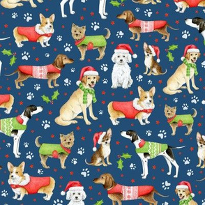 Dogs in Christmas Coats and Hats on navy - medium scale