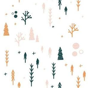Woodland Fox Trees On White