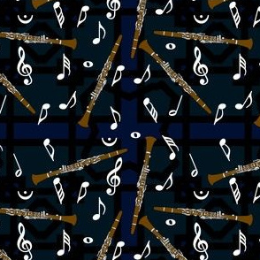 Clarinet White Music Note Pattern