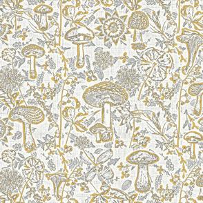 mushroom garden grey and yellow