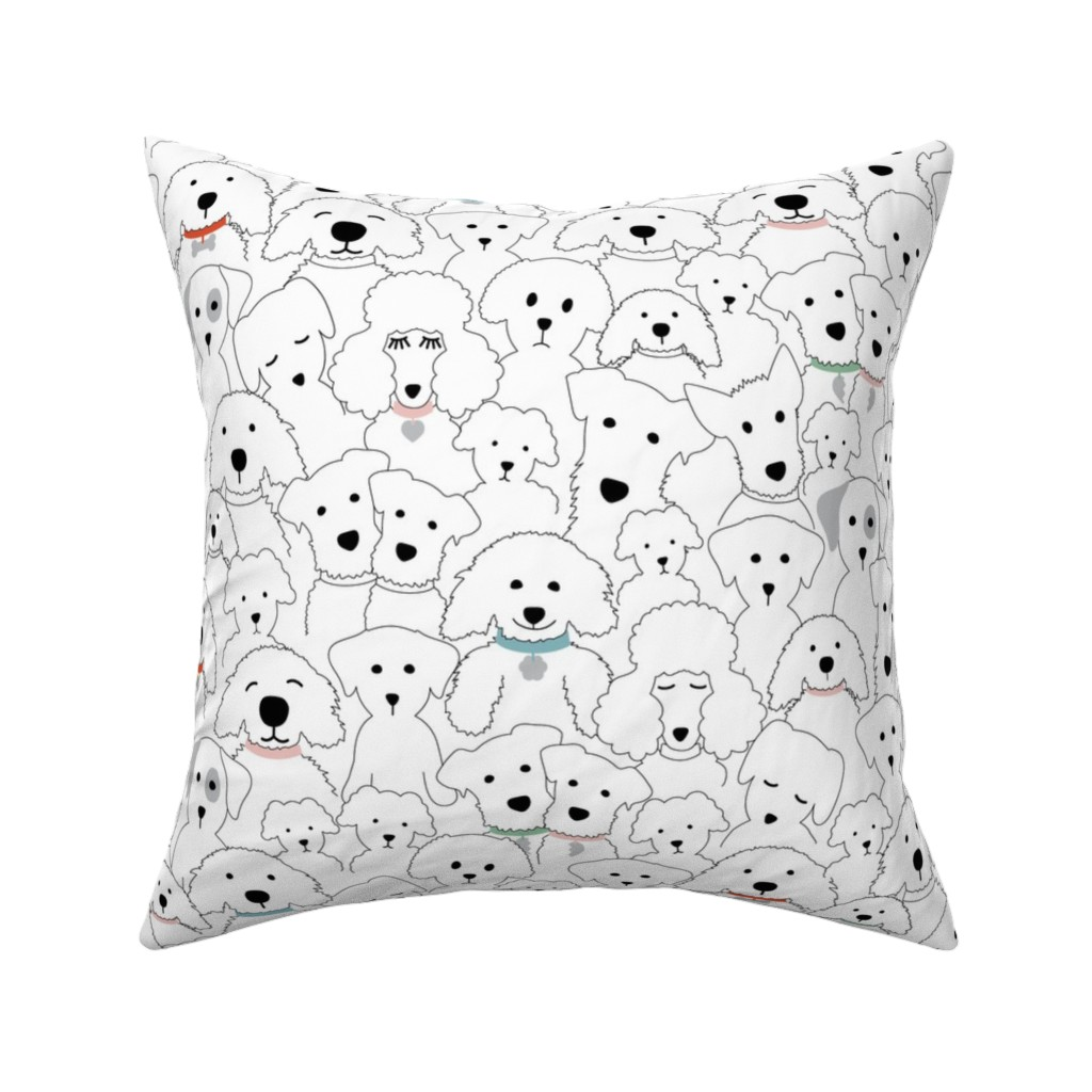 Catalan Throw Pillow featuring National Dog Day-White by twigged