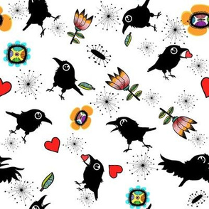 Crow with Hearts, White Background