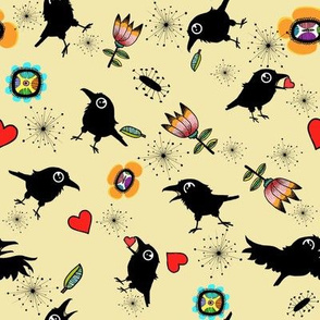 Crow with Hearts, Cream Background