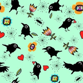 Crow and Hearts, Green Background