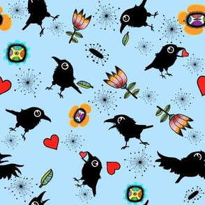 Crows and Hearts, Blue Background