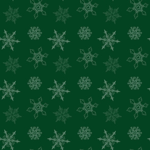 Holly Berry Green Snowflake