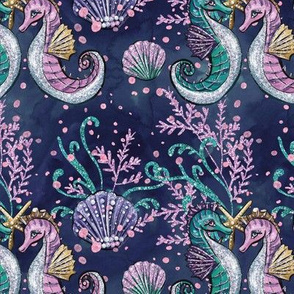 Seahorse & Seashells // Navy