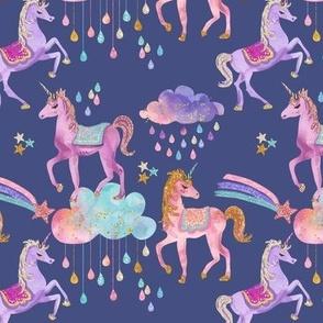 Rainbow Unicorns // Navy
