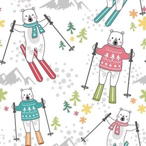 ski fun with bears - white