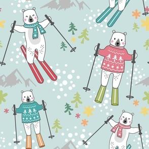 ski fun with bears