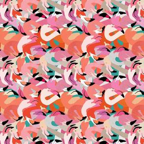 Flamingoes in Orange & Pink Railroad (horizontal)