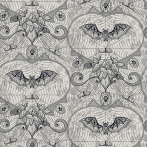 Gothic Lace-Bats-light grey