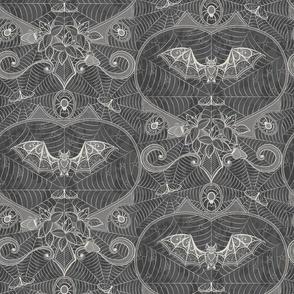Gothic Lace-Bats-grey on grey