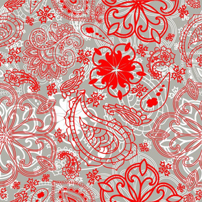Paisley Textured red gray and white