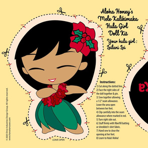 Aloha Honeys Holiday Hula Girl Doll Kit and Pattern