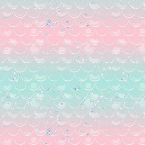 Mermaid Glitter Scales // Pastel pink teal