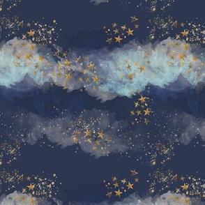 Golden stars & watercolor sky