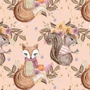 Woodland Animals // Squirrel Fox
