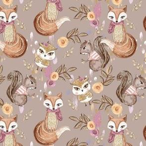 Woodland Animals // Squirrel Fox Owl