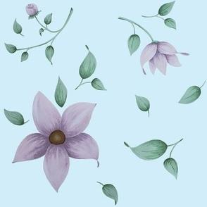 lavendar floral toss in blue