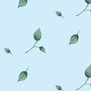 lavendar floral toss leaf coordinate in blue