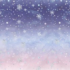 Winter Watercolor Snow Flake Sky