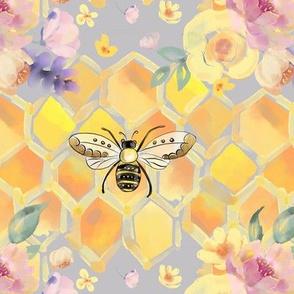 Honey Bee Watercolor Honeycomb & Floral