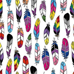 Pride Feathers - scattered - white background