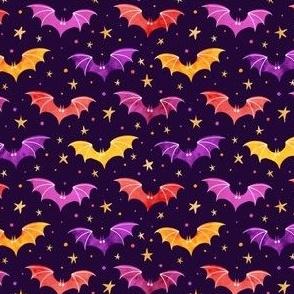 Watercolor Bats Warm Purple 1/2 Size