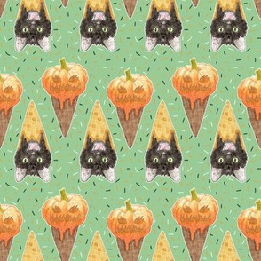 Jack O'lantern and Halloween Cat Ice Cream Cones Small Scale