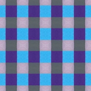 Blue & Lilac, Plum & Gray Gingham -large