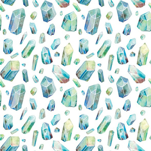Watercolor Crystals - Blue and Green with White Background
