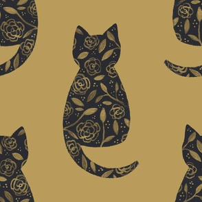 Floral Cat Silhouettes