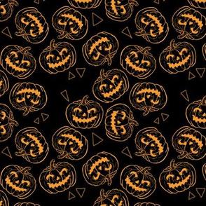 Orange Jack O'lanterns on Black Small Scale
