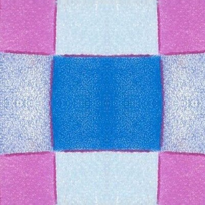Oversized Hand Drawn Checkers -Lilac and Blue