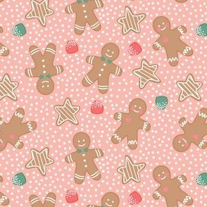 Holiday Gingerbreads and Gum Drops on Pink