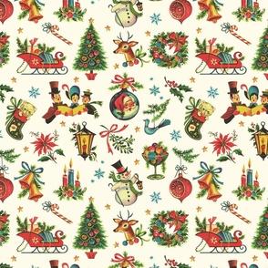 Vintage Retro Christmas on Cream - medium scale