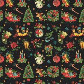 Vintage Retro Christmas on Dark Grey Linen - medium scale
