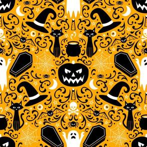 Halloween Damask (Orange)