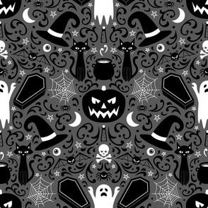 Halloween Damask (Gray)