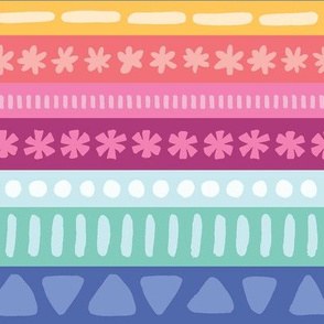 Multi-Color Stripe with Shapes