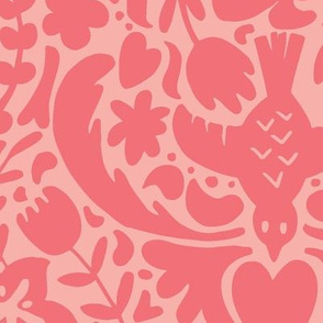 Two-Tone Tropical Floral on Pink